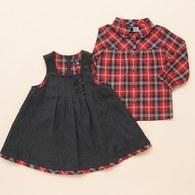 紅格紋襯衫+吊帶裙套裝(灰色)