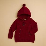 KA雙蝴蝶毛球連帽針織上衣(共二色)