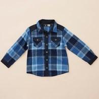 KA藍格紋休閒襯衫上衣(藍色)