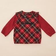 KA紅格紋假二件式上衣(紅色)