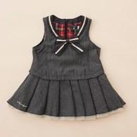 V領條紋俏麗百褶裙洋裝(藍色)