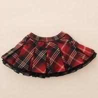 KA紅格紋短澎裙(紅色)